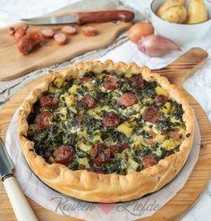 Hartige taart met boerenkool en rookworst High Tea, Buffet, Oven, Cooking, Breakfast, Desserts, Recipes, Food, Gratin