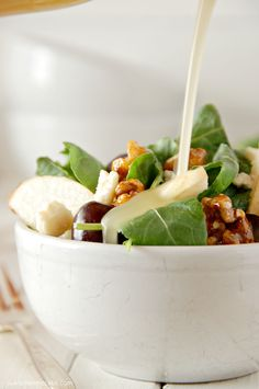 Baby Kale Salad with Gorgonzola, Asian Pear, Black Grapes, Candied Walnut and Honey Vinaigrette