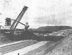 """Giant Shovel on Strip Mine Fight: 1973 Mining Equipment, Heavy Equipment, Surface Mining, Coal Mining, Cadiz, Shovel, West Virginia, Egypt, Ohio"