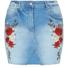 Parisian Pale Blue Rose Embroidered Denim Skirt ❤ liked on Polyvore featuring skirts, mini skirts, rosette skirt, short blue skirt, short skirts, mini skirt and blue mini skirt