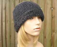 Knit Hat Womens Hat  Ribbed Brim Beanie in Charcoal by pixiebell