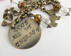 Personalized Dogs Are My Therapy keychain, hand stamped. #fashion #dog #doglovers #shopping #style #handmade #crafts #animals #handcrafted