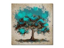 drzewo turkusowe - 80x80cm obraz XXL na płótnie