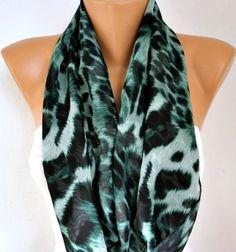 Leopard Infinity Scarf Spring Scarf Shawl by fatwoman,