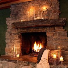 Gorgeous fireplace with candle light accents