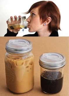 DIY coffee tea drink travel mug (Cheap!  Plus I bet they're way easier to clean AND I get to upcycle lids from coffee I buy)