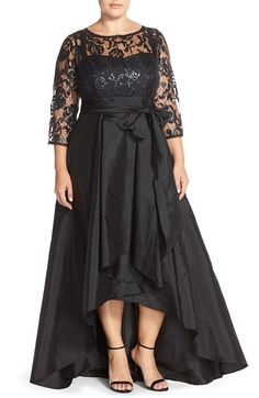1950s Plus Size Dresses Papell Illusion Lace Taffeta Ballgown Size 14W - Black $259.00 AT vintagedancer.com