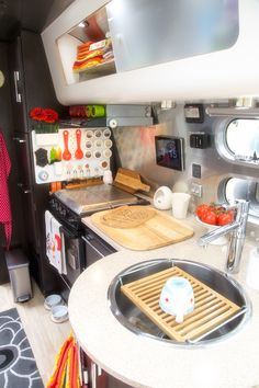 Camper kitchen organization