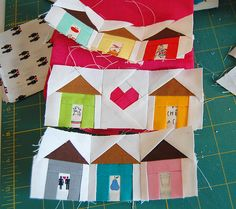 House blocks - bird & house quilt Fun way to use up novelty prints and cut-outs