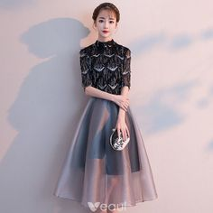 f65ba140c88 Elegant Black Homecoming Graduation Dresses 2018 A-Line   Princess High  Neck 1 2 Sleeves Sequins Tassel Tea-length Ruffle Formal Dresses