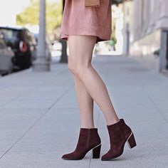Suede and wine colored booties now on thriftsandthreads.com full outfit deets  direct link in bio