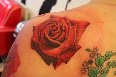 red rose flower tattoo by Mirek vel Stotker