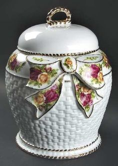 Biscuit Barrel With Lid in the Old Country Roses pattern by Royal Albert China