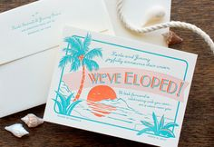 Letterpress Wedding Invitation - SAMPLE - Tropical Destination, Bahama Islands. $1.00, via Etsy.