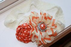 Orange and Cream Baby Headbands Baby Flower by TeagansTotShop, $12.95