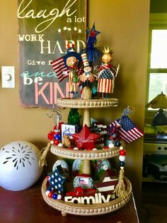 24 July Tiered Tray decoration ideas to glam up your home in Patriotic Spirit - Hike n Dip Fourth Of July Decor, 4th Of July Decorations, 4th Of July Party, July 4th, Tiered Stand, Tray Decor, Independence Day, Decor Crafts, Memorial Day