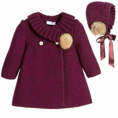 "Детское пальто спицами ""Baby girls burgundy red traditional heritage style knitted coat and bonnet set by Foque. This charming styled outfit is ideal to be Baby Knitting Patterns, Knitting For Kids, Crochet For Kids, Crochet Baby, Knitting Ideas, Crochet Patterns, Knitting Toys, Knitting Sweaters, Crochet Ideas"