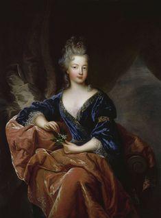 """ca. 1692 Françoise-Marie de Bourbon, """"Mademoiselle de Blois"""" by François de Troy (Versailles) Wm fixed edges"""