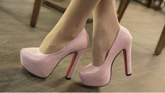 New Style Comfortable Sexy Platform Dress Shoes Fashion Shining Thick High Heels Stilettos Pink And Gray Wholesale And Retail US $31.02 gray