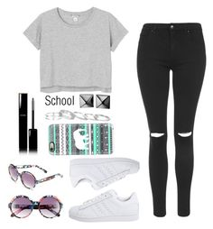 """""""School"""" by ninaignatova ❤ liked on Polyvore featuring Topshop, Monki, adidas Originals, BP., Waterford, Kendra Scott, Chanel and Casetify"""