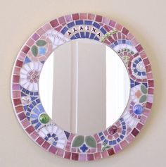 Custom baby name stained glass mosaic mirror with beads, millefiori; handmade original