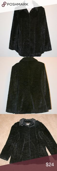 """ANN TAYLOR Faux Fur Black Medium Coat Jacket Soft Ann Taylor  Very Good Condition - No Stains or Holes  Winter Coat or Jacket  Black  Faux Fur - Very Soft  Size:  Medium  Measurements Taken On Outside of Coat       Chest:  40"""" armpit to armpit then doubled  Length:  29 1/2""""  Sleeve Length:  25""""  Waist:  37 1/2""""  Shoulder Seam to Shoulder Seam:  16 1/2""""  Shell:  74% Acetate, 16% Cotton and 10% Polyester  Lining:  100% Polyester Ann Taylor Jackets & Coats"""