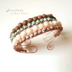 """Terra & agua"" wooden / stone / acrylic beads / copper wire peças de madeira / pedra / acrílico / fio de cobre fa / kő / akril gyöngyök / réz drót #jewelry #bracelet #handcrafted #pulseira #joia"