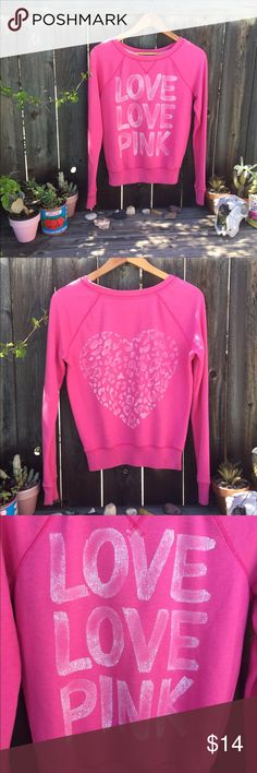 """PINK VICTORIA SECRET sweatshirt pullover SZ XS PINK VICTORIA SECRET SZ XS pink sweatshirt front graphic and back. Armpit to armpit 21"""" front length 22"""" some light piling throughout otherwise super cute and good condition! PINK Victoria's Secret Sweaters Crew & Scoop Necks"""