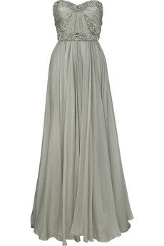 Gray Iridescent Silk Chiffon Full Length Strapless Gown, Gorgeous!!