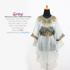 Moroccan Gray Chiffon Blouse Short Caftan Dress Unique by aboyshop, $33.99
