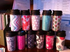 Dollar Store mugs with Thirty-One swatches! Use these to put gifts or prizes in for your birthday party!