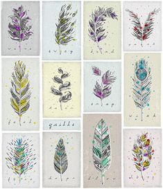 Twelve illustrated quill pens, each with one word.