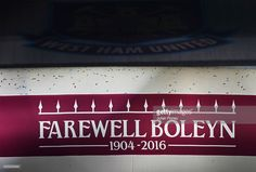 A 'Farewell Boleyn' logo is seen after the Barclays Premier League match between West Ham United and Manchester United at the Boleyn Ground on May 10, 2016 in London, England. West Ham United are playing their last ever home match at the Boleyn Ground after their 112 year stay at the stadium. The Hammers will move to the Olympic Stadium for the 2016-17 season.