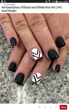 Nail art french matte black