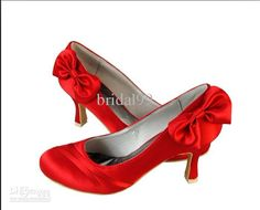 Shoes-In Stock Cheap Red Wedding Shoes With Low Heels Lace Pointed ...