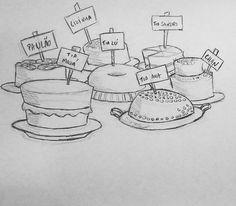 Mesa de bolos e sobremesas feita pelas tias e avós dos noivos.