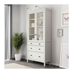 HEMNES Glass-door cabinet with 3 drawers, white stain white stain 35 3/8x77 1/2