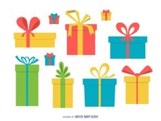 Set of flat illustrations featuring gift boxes with bows. Designs come in…