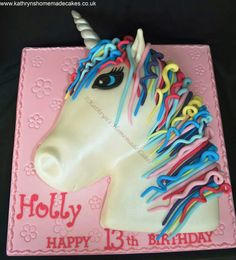 2D Unicorn Head birthday cake