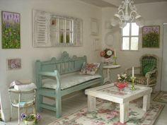 shabby chic wohnzimmer ideen einrichtung pastellfarbene möbel seladongrün