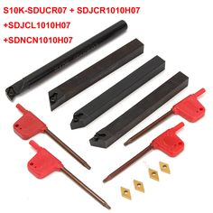 4pcs 10mm Shank Lathe Boring Bar Turning Tool Holder With 4pcs DCMT070204 Inserts