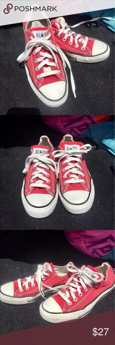 🔺Low Top Red Converse🔺 Converse All Star low top red converse- never go out of style. Used but decent condition, clean and washed for sale! Perfect for summertime 🌞 Converse Shoes Sneakers