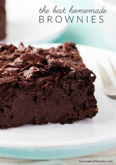 Easiest Homemade Brownies Recipe is part of Brownies recipe homemade - This EASY homemade brownie recipe is the best I've ever made! These fudgy homemade brownies made from scratch are delicious and easy to make! Just Desserts, Delicious Desserts, Cookie Recipes, Dessert Recipes, Cupcake Recipes, Pie Recipes, Baking Recipes, Best Brownie Recipe, Simple Brownie Recipe