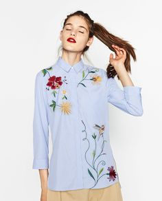 ZARA - WOMAN - EMBROIDERED POPLIN SHIRT