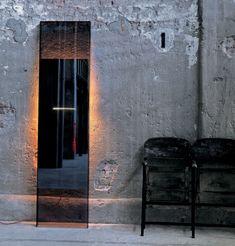 Miroir Diva / Lumineux - L 50 x H 200 cm Fumé / miroir - Glas Italia