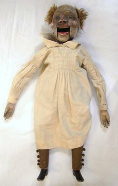 Antique Ventriloquists Dummy of a man wearing a white frock. I am too scared to look at this twice. Even new, it must have been the stuff of nightmares but the decay really pushes this thing into wake up screaming territory. Antique Dolls, Vintage Dolls, Creepy Old Photos, James Ensor, Ventriloquist Dummy, Vintage Oddities, White Frock, Vintage Mannequin, Marionette Puppet