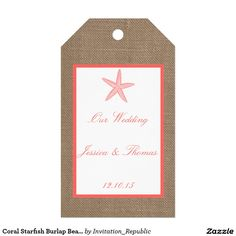 Coral Starfish Burlap Beach Wedding Collection Pack Of Gift Tags