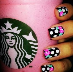 Black nails w/ white polka dots and flowers #starbucks