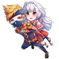 Kagura and Hayabusa Chibi Wallpaper, Mobile Legend Wallpaper, Mobiles, Gaming Wallpapers, Cute Wallpapers, Anime Chibi, Manga Anime, Miya Mobile Legends, Legend Drawing