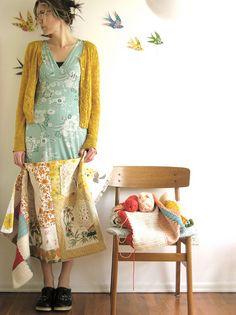 dottie angel, love her peachy granny-chic style mustard aqua. Hankie skirt.